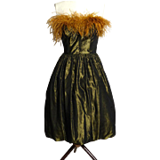 Circa 1970s Victor Costa Olive Green and Gold Metallic Silk Dress with Feather Neckline