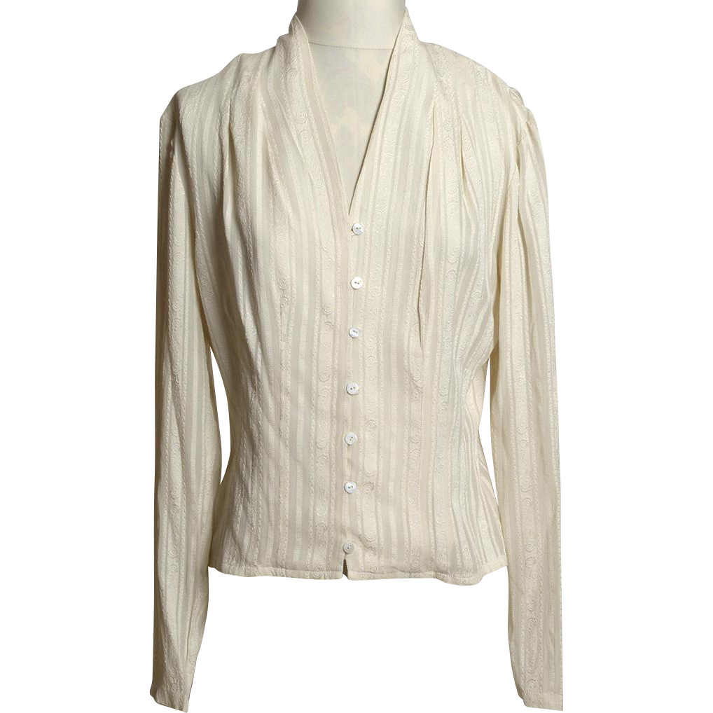 Circa 1980s Cream Tone-On-Tone Striped Patterned Blouse