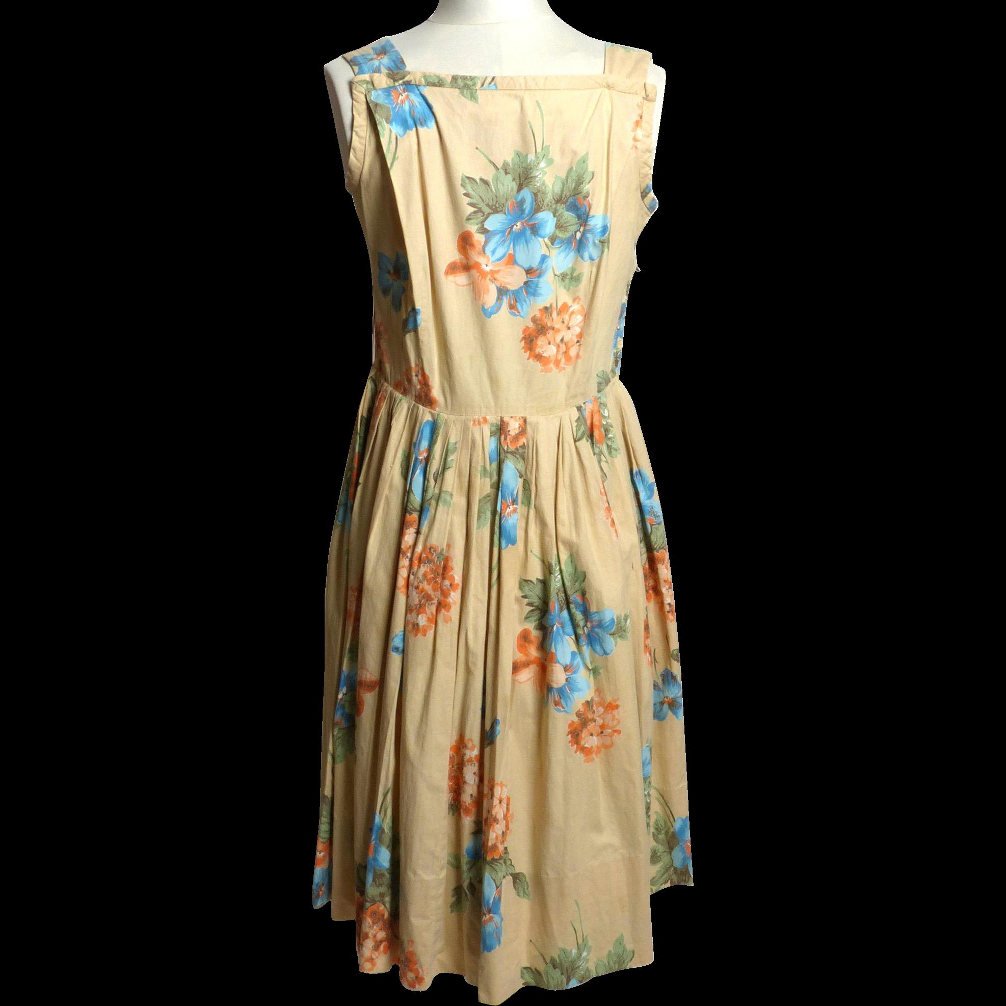 Circa 1950s Beige Floral Sundress