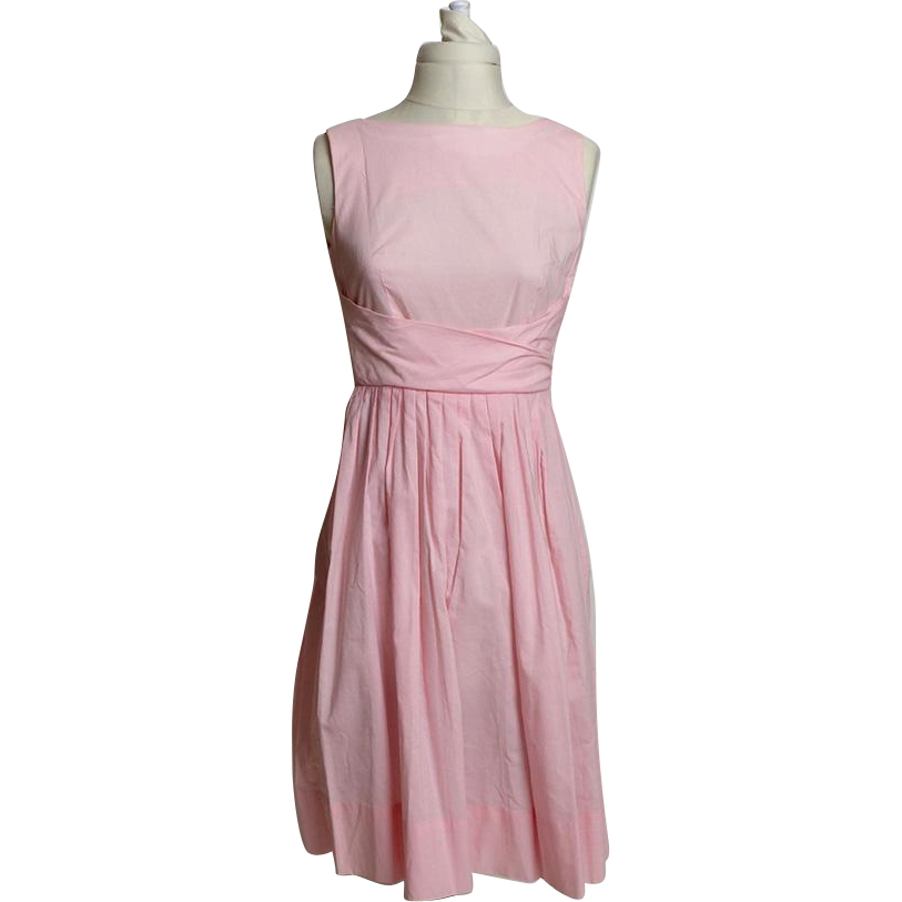 Circa 1950s Cotton Pink Belted Sundress