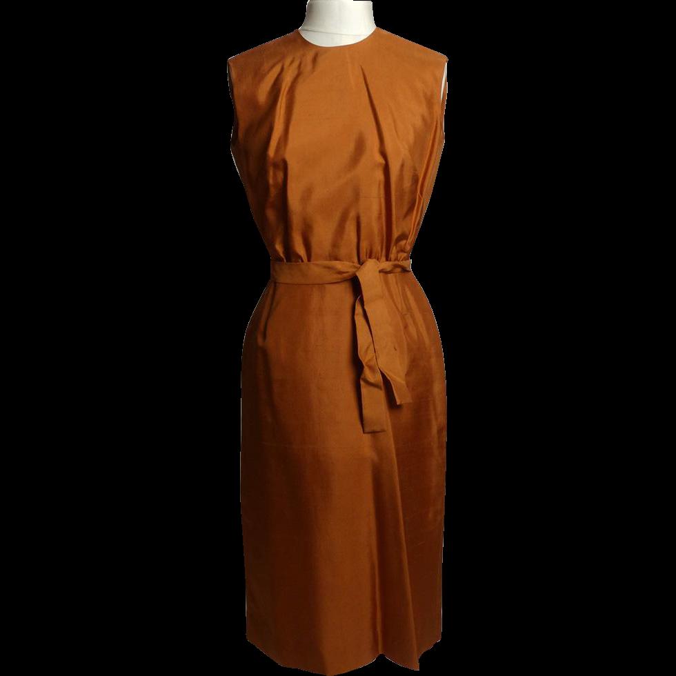 Circa 1950s/Early 1960s Bergdorf Goodman Silk Tie Dress - Never Worn