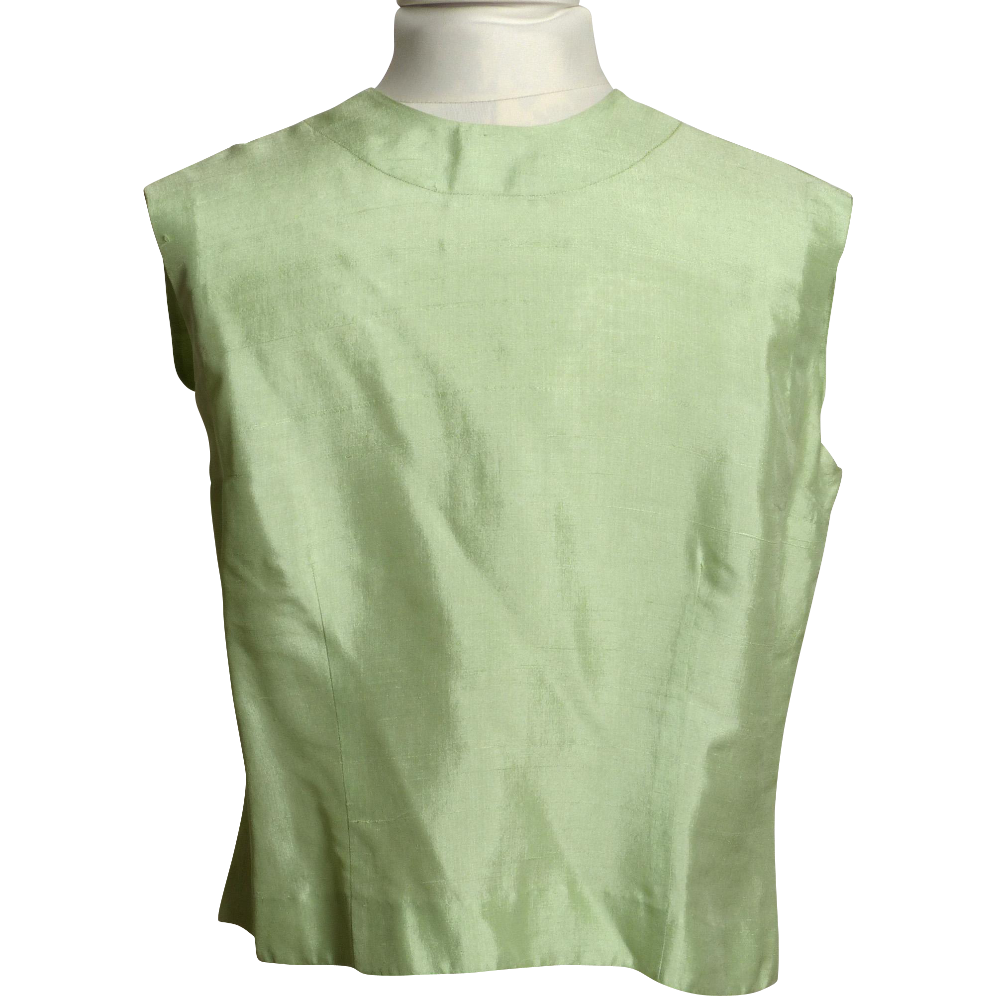 Circa 1940s Bonwit Teller Mint Green Silk Blouse with Button Back