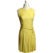 Circa 1960s Yellow Woven Cloth Tassel Dress