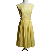 Circa 1960s Yellow Cotton Embroidered Sundress