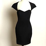 Circa 1980s Ingrid Luhn Black Silk Cutout Cocktail Dress