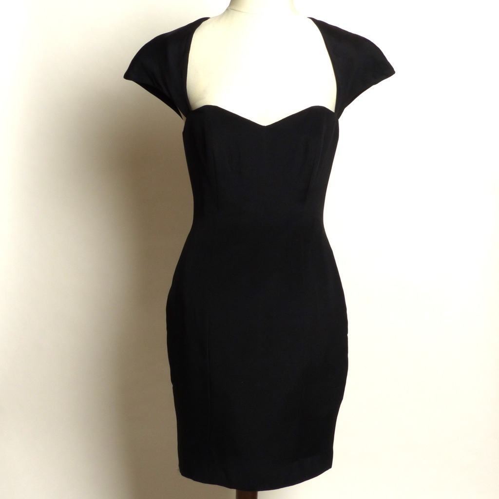 Circa 1980s Ingrid Luhn Black Silk Cutout Cocktail Dress