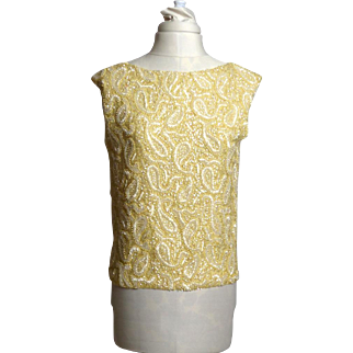 Circa 1960s Jo-Ro Imports Pale Yellow Wool Beaded and Sequinned Shell Sweater