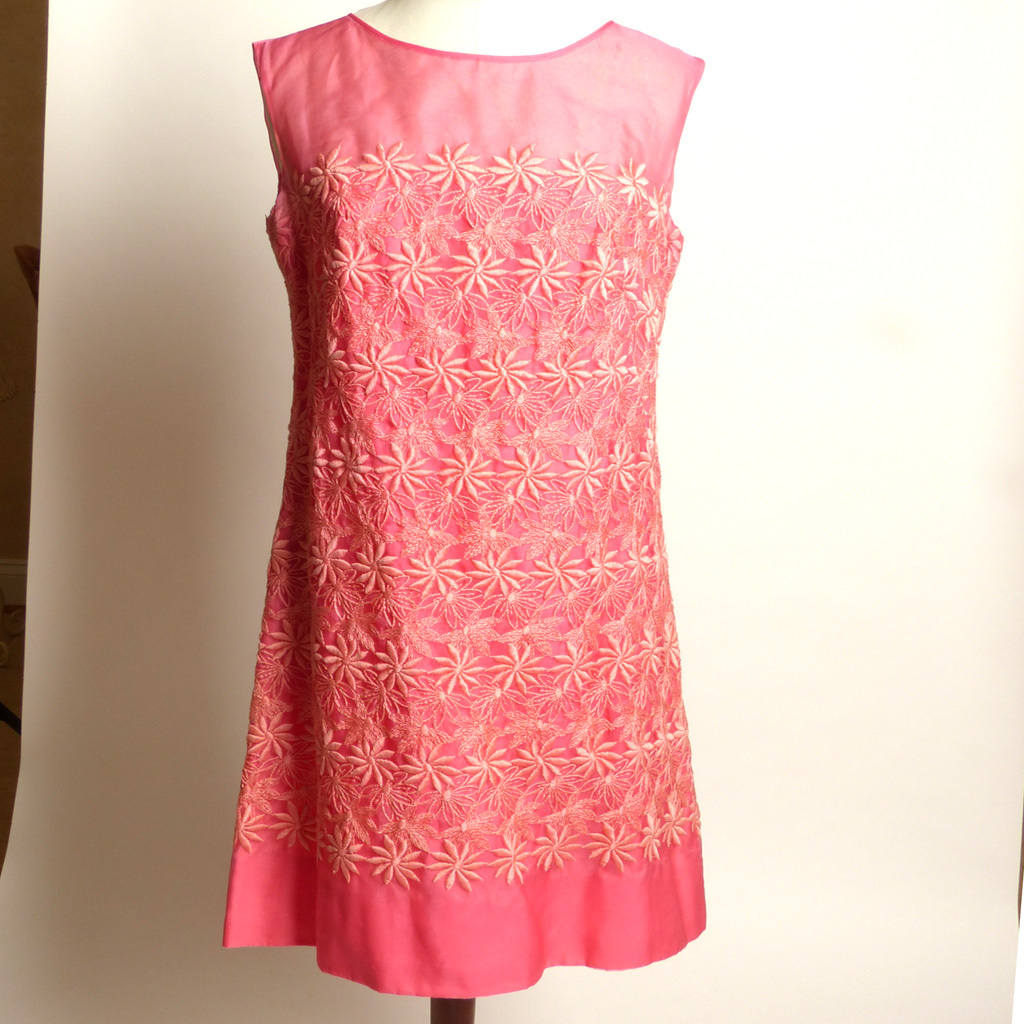 Circa 1960s Pink Embroidered Floral Sheath Dress