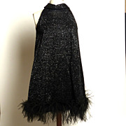 Sparkly Feather-Hem Black Halter Dress