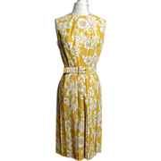 Circa 1960s Gold and Cream Paisley Rockabilly Dress