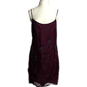 Circa 1980s Shelli Segal Laundry Maroon Beaded Floral Dress