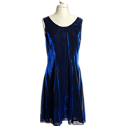 Circa 1980s SharAidNites Blue Velvet Rhinestone Dress