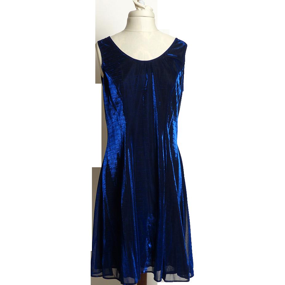 Circa 1980s SharAidNites Blue Velvet Rhinestone Dress