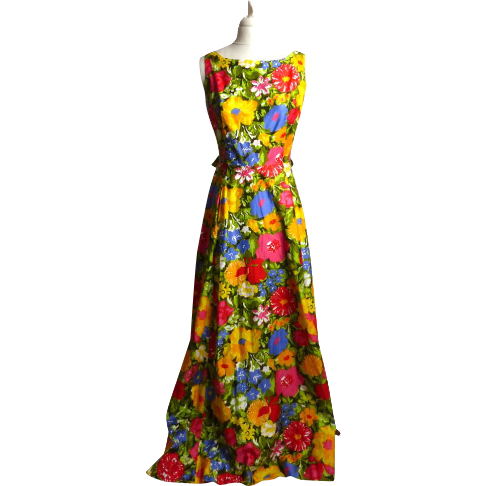 Circa 1970s Cotton Floral Maxi Dress