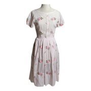 Circa 1950s Jeanne D'Arc CottonEmbroidered Day Dress