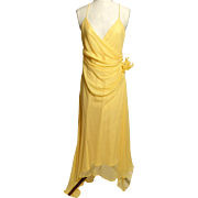 Circa 1980s-90s  Shelli Segal Yellow Silk Dress