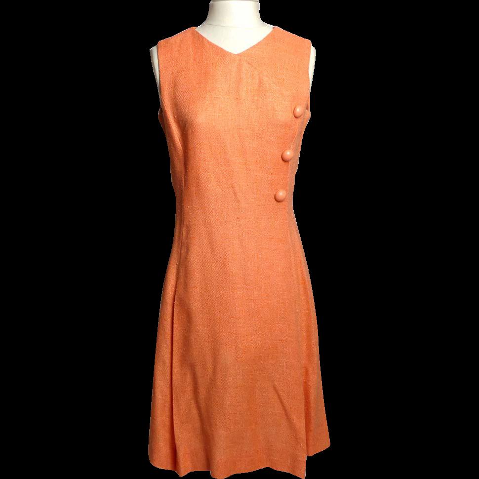 Circa 1960s Alison Ayres Peach Linen Dress