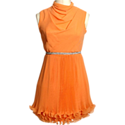 Circa 1960s Jr. Themes Apricot-Colored Accordion Pleat Dress