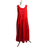 Circa 1970s Mona Lisa Red Rockabilly Sundress