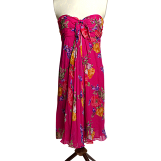 Circa 1990s Lauren Pink Silk Floral Dress