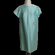Circa 1960s Renmor Aqua Shantung Vintage A-Line Dress