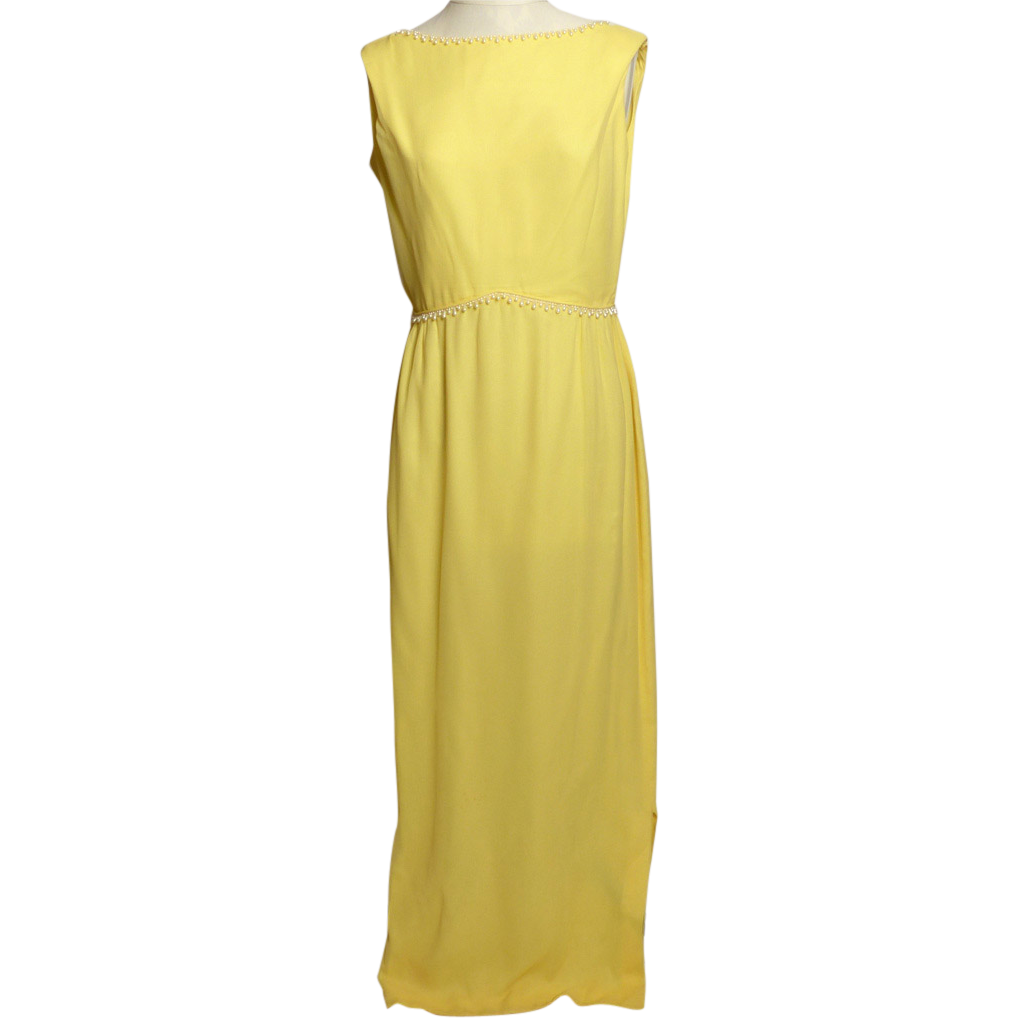 Circa 1960s Stephen O'Grady Yellow Chiffon Gown