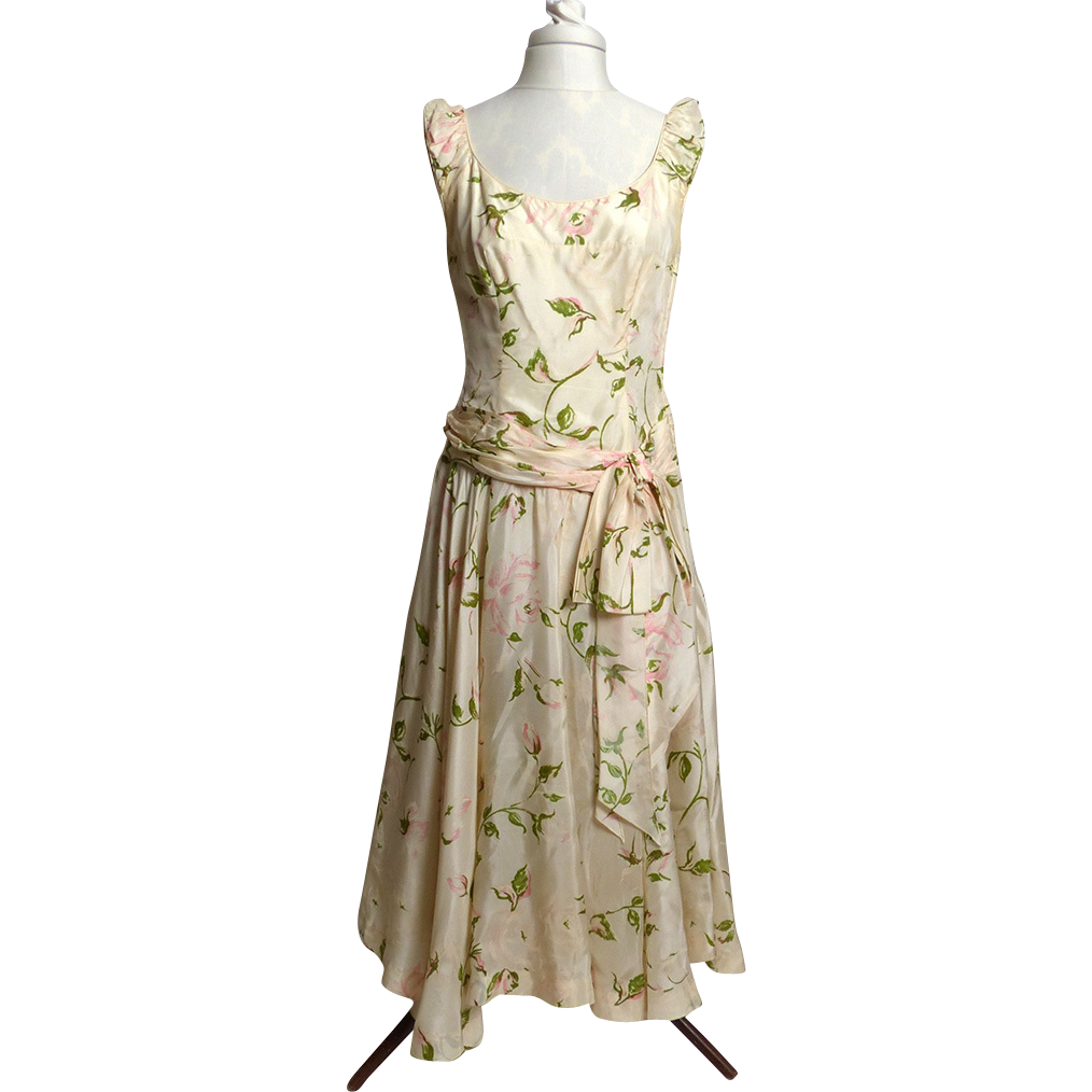 Circa 1950s Lilli Russell Cream Silk Floral Dress