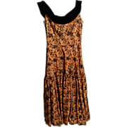 Circa 195s Bronze Taffeta Burnout Circle Dress