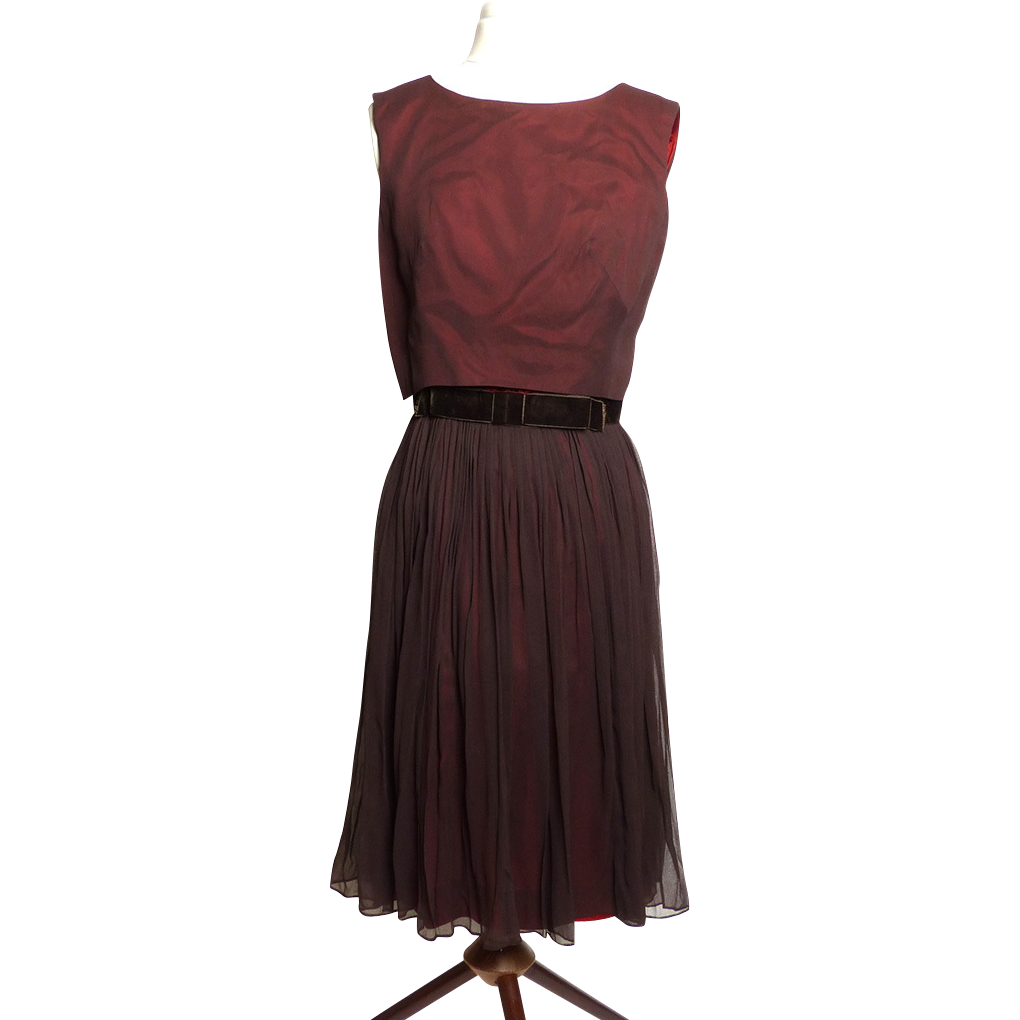 Circa 1950s L'Aiglon Chocolate Brown Party Dress