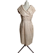 Circa 1950s Cream Brocade Shawl-Collared Dress