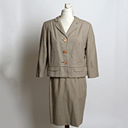Circa 1940s Wool Brown/Cream Houndstooth Suit