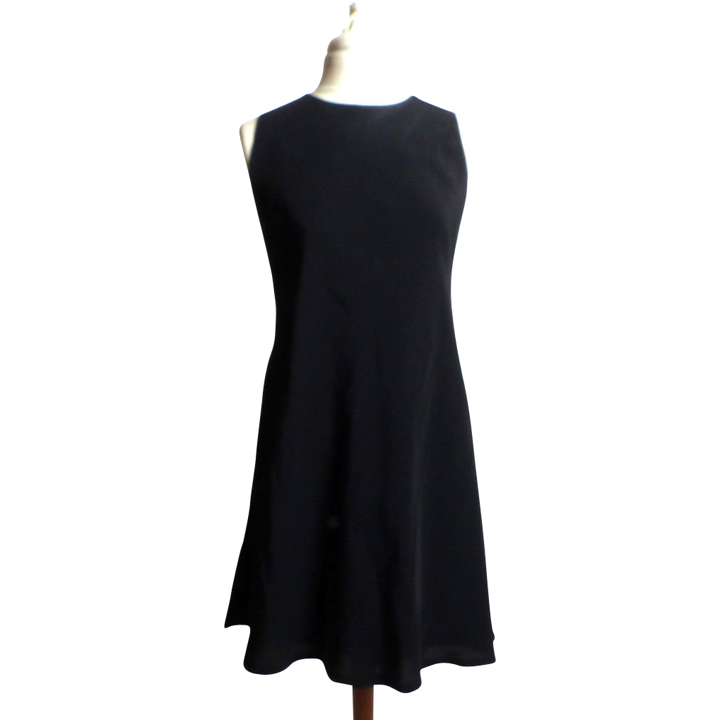 Circa 1980s Victor Costa Black Formal Knee Dress with Pearls and Bow
