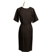 Circa 1950s Norman Wiatt of California Brown Silk Dress