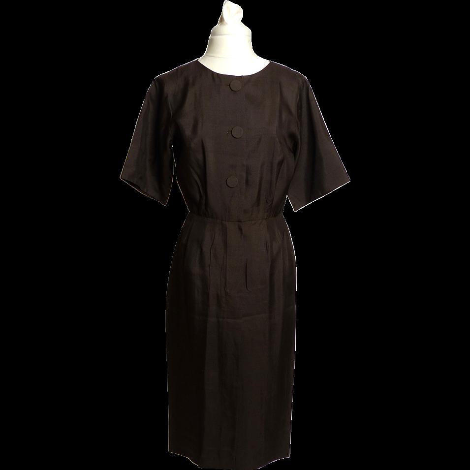 Circa 1950s Norman Wiatt of California Brown Silk Dress