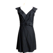 Circa 1960s Black Pleated Shawl-Collared Belted Dress