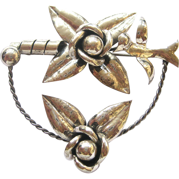 Art Deco Sterling Silver Bird and Flower Brooch/Pin