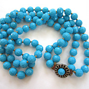 Double Strand Blue Plastic Faceted Bead Necklace