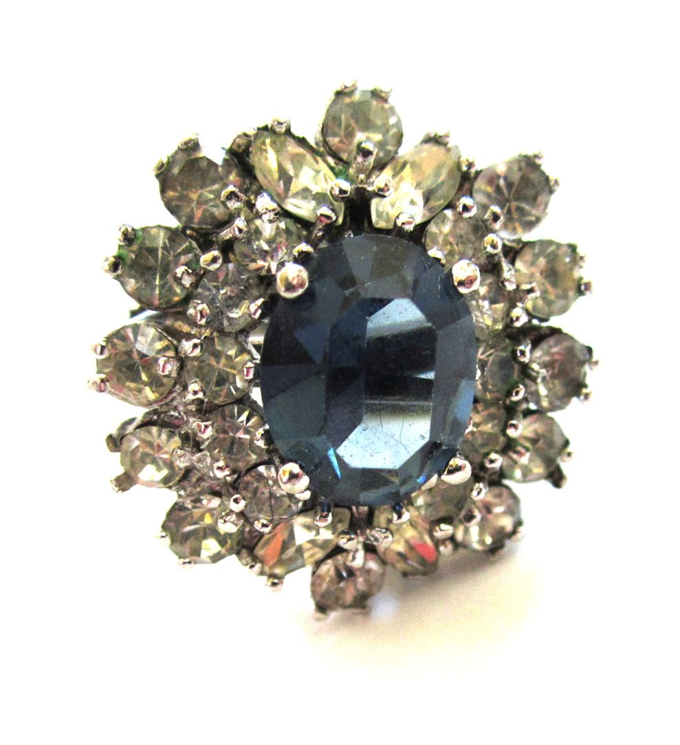 Silver Metal and Rhinestone Faux Sapphire Ring