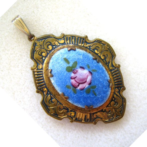 Brass Locket Pendant with Enameled Floral Plaque