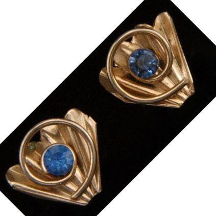 Unsigned Silvertone Fan and Blue Rhinestone Screwback Earrings