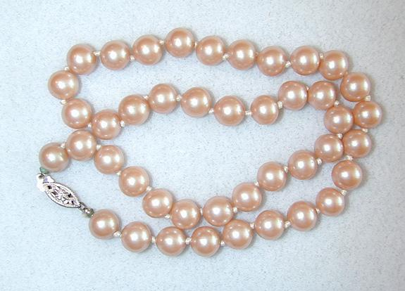 Unsigned Glass Faux Pearls with Sterling Filigree Clasp