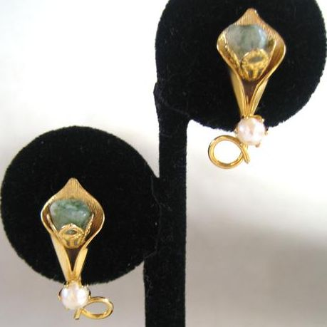 Unsigned Cultured Pearl and Pale Green Stone Earrings