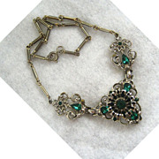 Coro Goldtone and Green Rhinestone Necklace