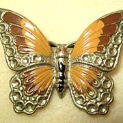Unsigned Silvertone Enamel Butterfly Brooch/Pin