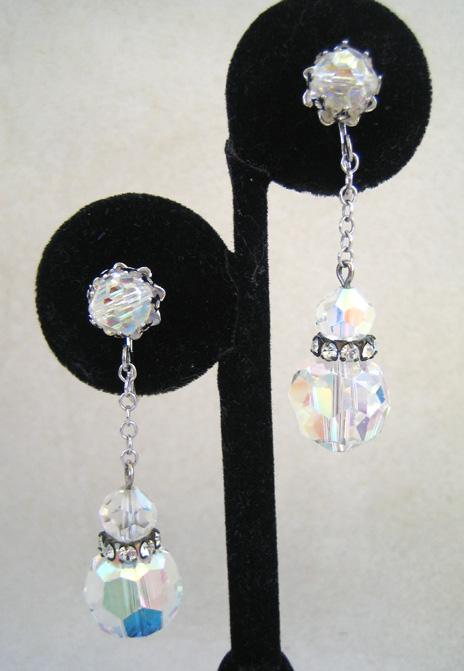 Unsigned Faceted Crystal and Rhinestone Earrings