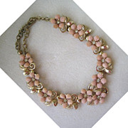 Unsigned Pale Pink Plastic Rhinestone Floral Necklace/Choker