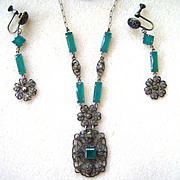 Unsigned Art Deco Green Glass Floral Filigree Necklace and Earrings