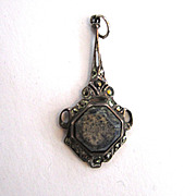 Unsigned Sterling Marcasite and Agate Pendant