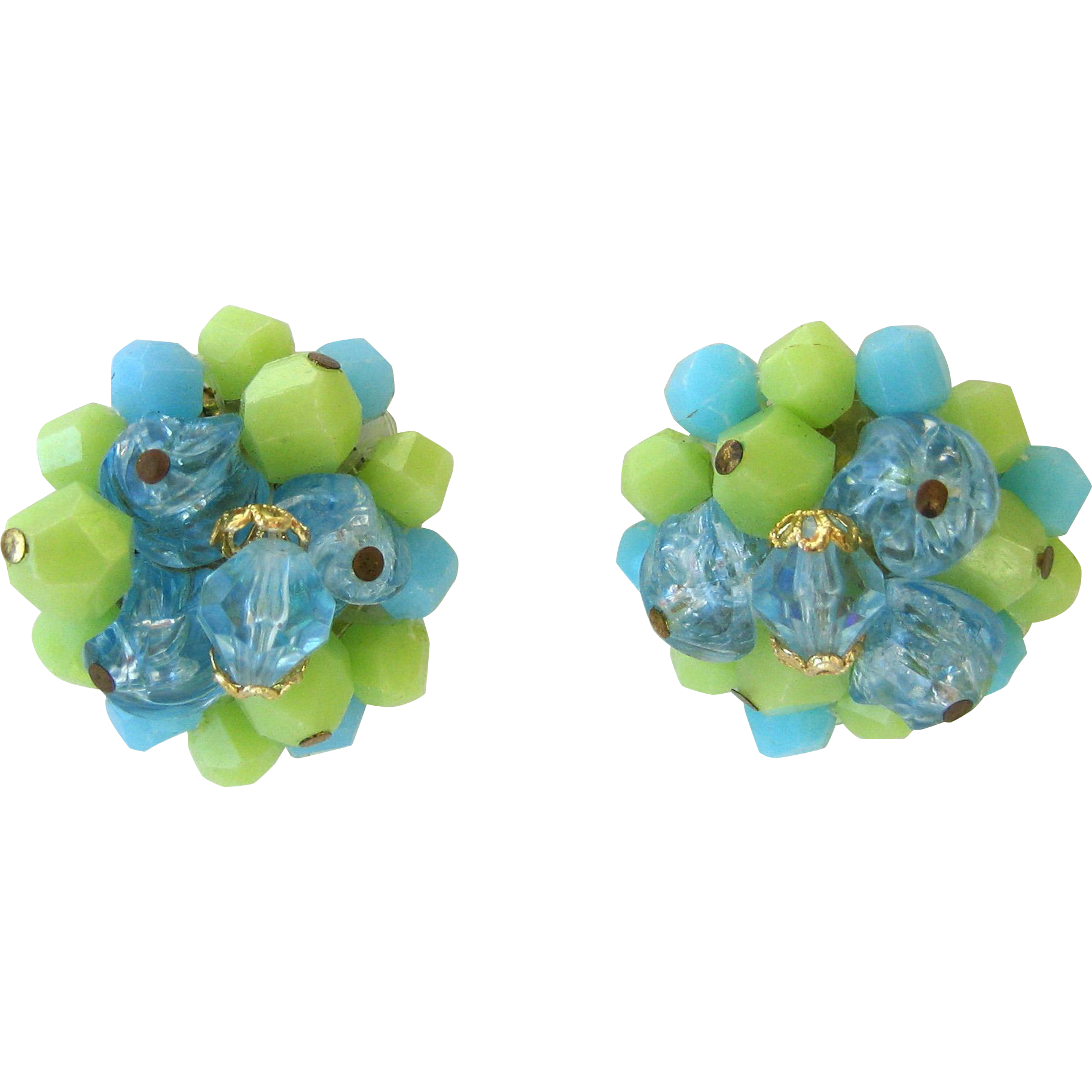 German-Made Blue and Green Bead Earrings