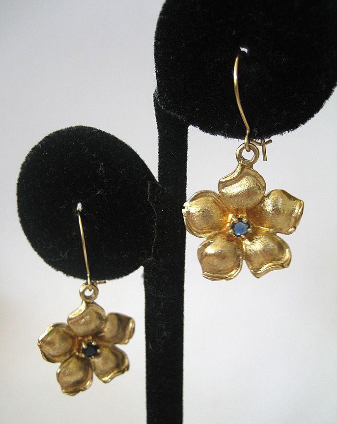 Sterling Silver Vermeil Sapphire Floral Earrings